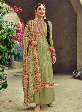 Faux Georgette Embroidered Work Palazzo Style Pakistani Salwar Kameez