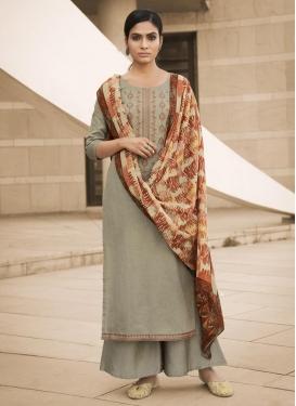 Cotton Embroidered Work Palazzo Style Pakistani Salwar Suit