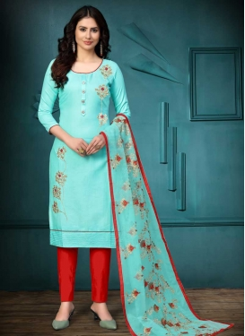 Cotton Embroidered Work Pant Style Salwar Kameez