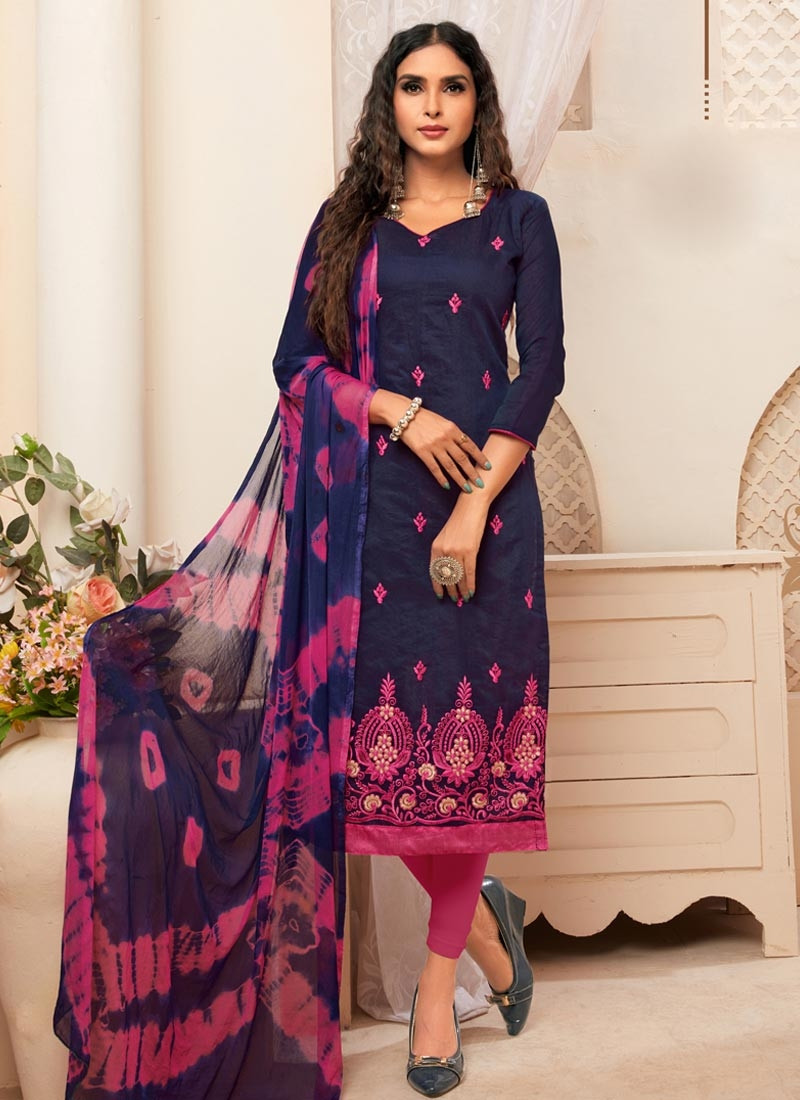 Cotton Embroidered Work Straight Pakistani Suit