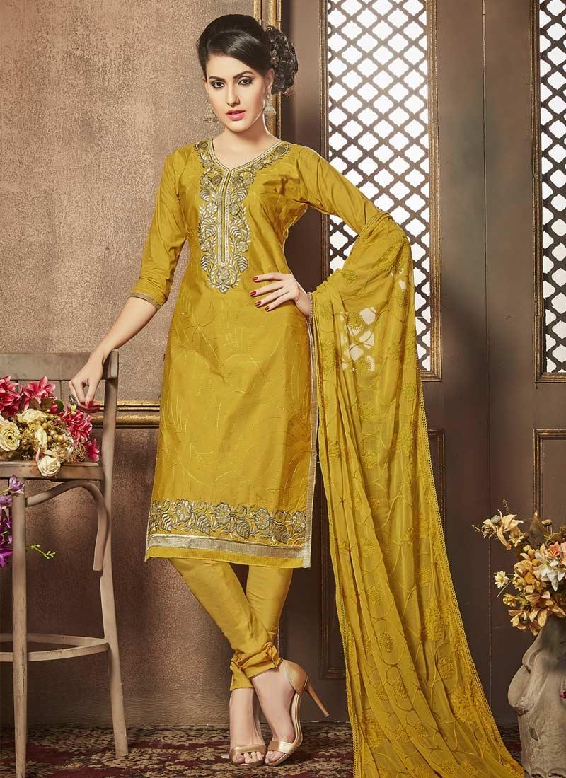 Cotton Embroidered Work Trendy Churidar Salwar Suit