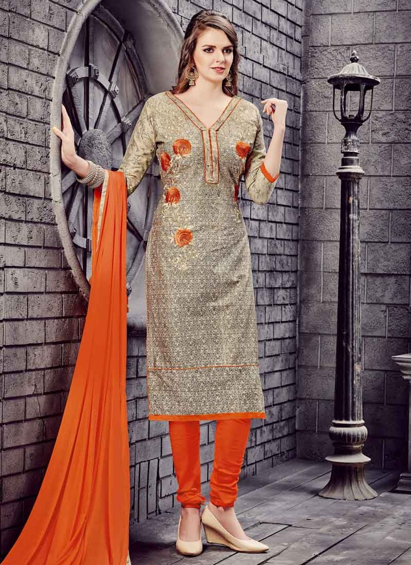 Cotton Embroidered Work Trendy Churidar Salwar Suit