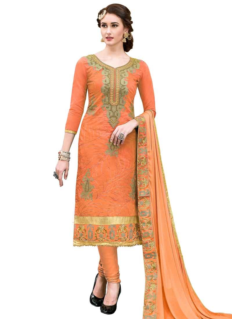 Cotton Embroidered Work Trendy Straight Salwar Suit