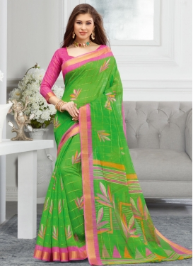 Cotton Green and Hot Pink Designer Contemporary Style Saree