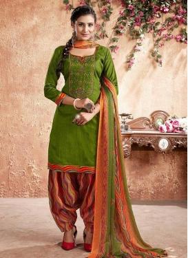 Cotton Green and Orange Digital Print Work Punjabi Salwar Kameez