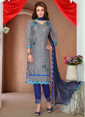 Cotton Grey and Navy Blue Embroidered Work Pant Style Classic Salwar Suit