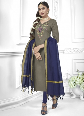Cotton Grey and Navy Blue Trendy Churidar Salwar Kameez