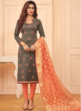 Cotton Grey and Peach Embroidered Work Churidar Salwar Suit