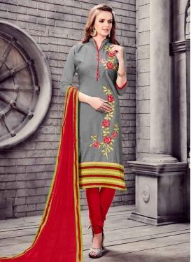 Cotton Grey and Red Churidar Salwar Kameez