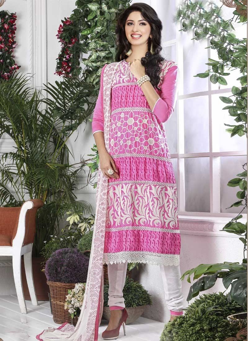 Cotton Hot Pink and White Embroidered Work Trendy Churidar Salwar Suit