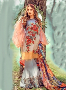 Cotton Lavender and Off White Digital Print Work Palazzo Style Pakistani Salwar Kameez