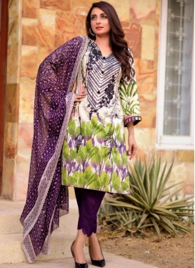 Cotton Lawn Pant Style Salwar Kameez For Ceremonial