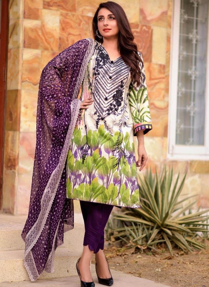 Cotton Lawn Pant Style Salwar Kameez For Ceremonial