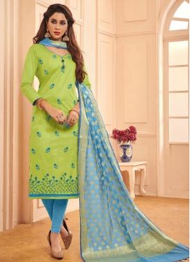Cotton Light Blue and Mint Green Embroidered Work Trendy Churidar Salwar Kameez