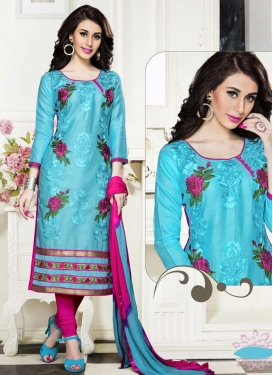 Cotton Light Blue and Rose Pink Churidar Salwar Suit