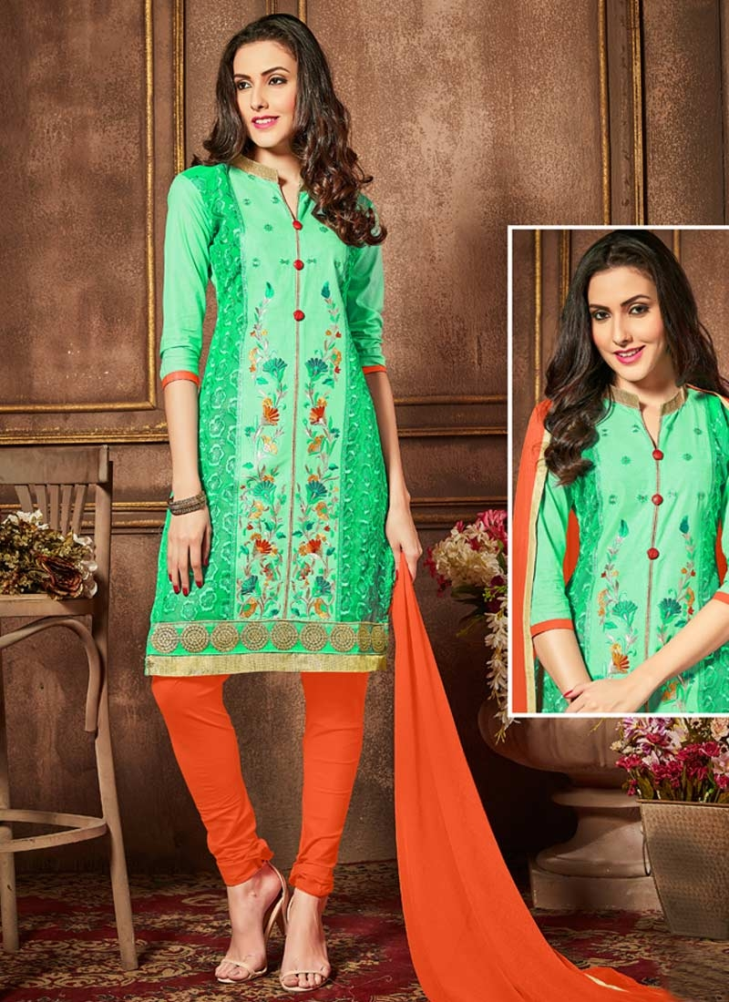 Cotton Mint Green and Orange Embroidered Work Churidar Salwar Suit