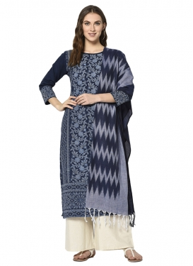 Cotton Navy Blue and Off White Woven Work Palazzo Salwar Kameez