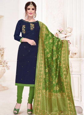 Cotton Navy Blue and Olive Trendy Churidar Salwar Suit