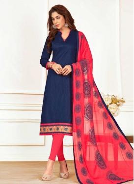 Cotton Navy Blue and Rose Pink Trendy Straight Salwar Kameez