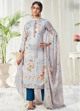 Cotton Navy Blue and Silver Color Pant Style Pakistani Salwar Kameez