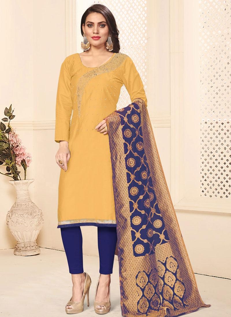 Cotton Navy Blue and Yellow Beads Work Pant Style Salwar Kameez