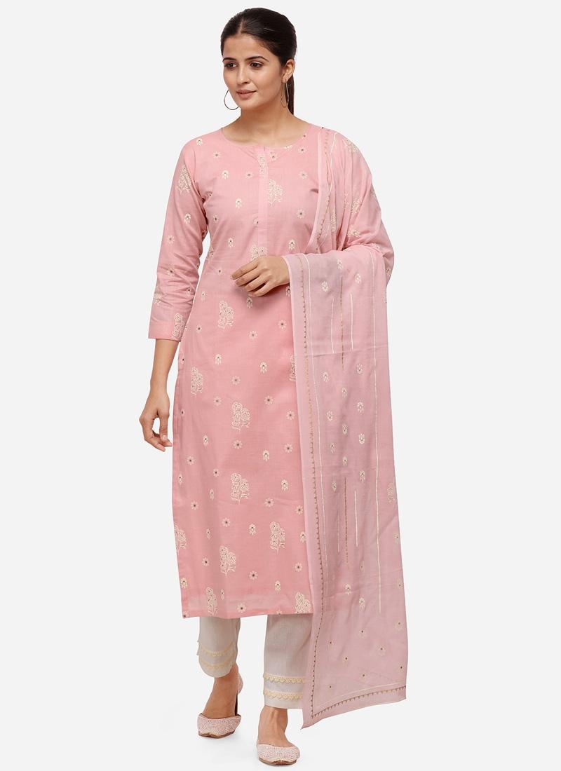 Cotton Off White and Salmon Pant Style Pakistani Salwar Kameez