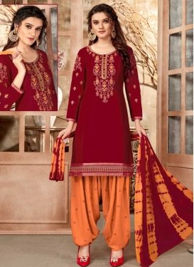 Cotton Orange and Red Embroidered Work Trendy Patiala Salwar Suit