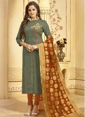 Cotton Orange and Sea Green Designer Pakistani Salwar Suit