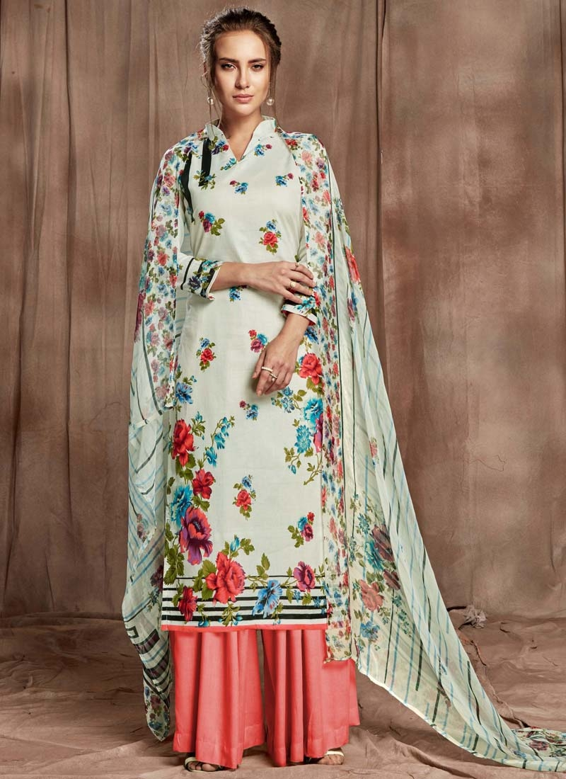 Cotton Palazzo Style Pakistani Salwar Kameez For Ceremonial