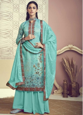 Cotton Palazzo Style Pakistani Salwar Suit For Ceremonial