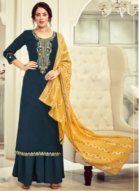 Cotton Palazzo Style Pakistani Salwar Suit For Ceremonial