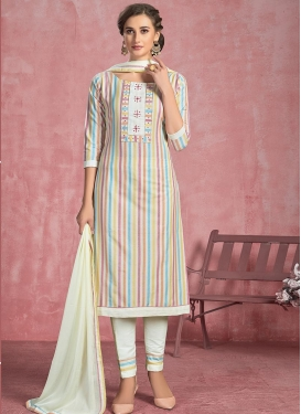 Cotton Pant Style Straight Salwar Kameez For Festival