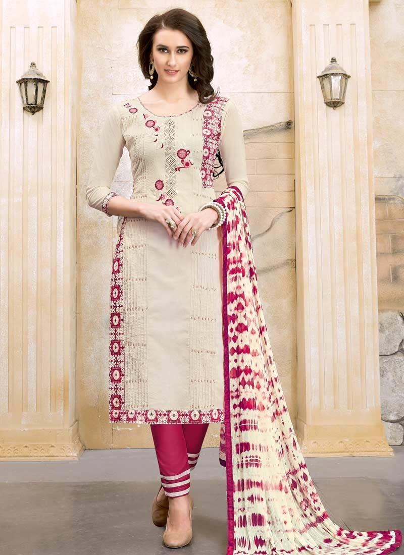 Cotton Pant Style Straight Salwar Suit
