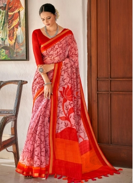 Cotton Pink and Red Traditional Designer Saree For Casual