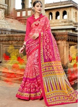 Cotton Print Printed Saree in Hot Pink