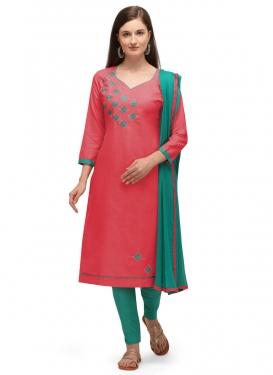 Cotton Rose Pink and Sea Green Embroidered Work Trendy Churidar Salwar Kameez