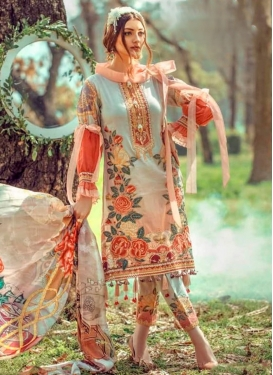 Cotton Salmon and Turquoise Pant Style Pakistani Salwar Kameez