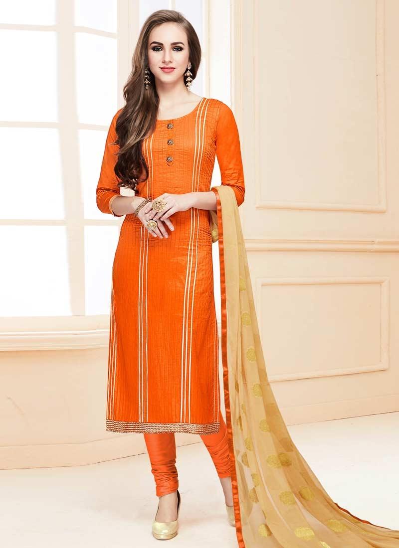 Cotton Satin Beads Work Trendy Churidar Salwar Suit