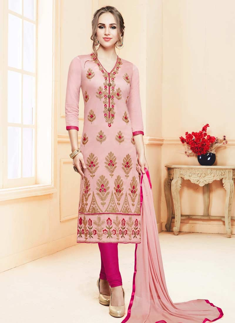 Cotton Satin Churidar Salwar Suit For Festival