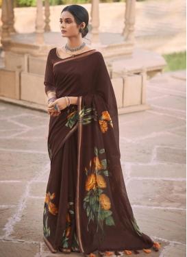 Cotton Satin Designer Contemporary Style Saree For Casual