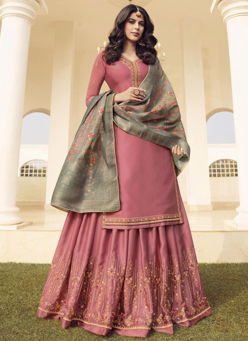 Cotton Satin Designer Palazzo Salwar Suit For Ceremonial
