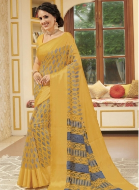 Cotton Satin Digital Print Work Traditional Designer Saree