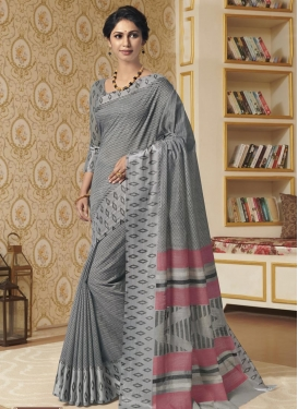 Cotton Satin Digital Print Work Traditional Saree