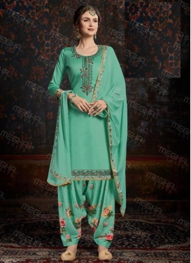 Cotton Satin Embroidered Work Designer Semi Patiala Salwar Suit