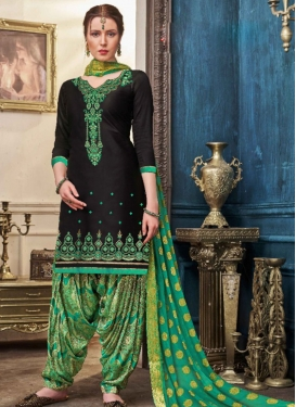 Cotton Satin Embroidered Work Designer Semi Patiala Suit