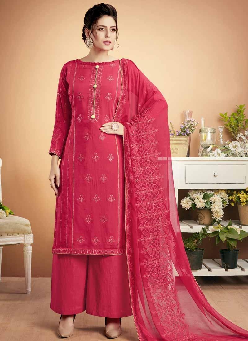 Cotton Satin Embroidered Work Palazzo Style Pakistani Salwar Suit