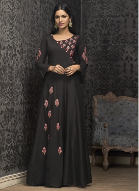 Cotton Satin Embroidered Work Readymade Designer Gown