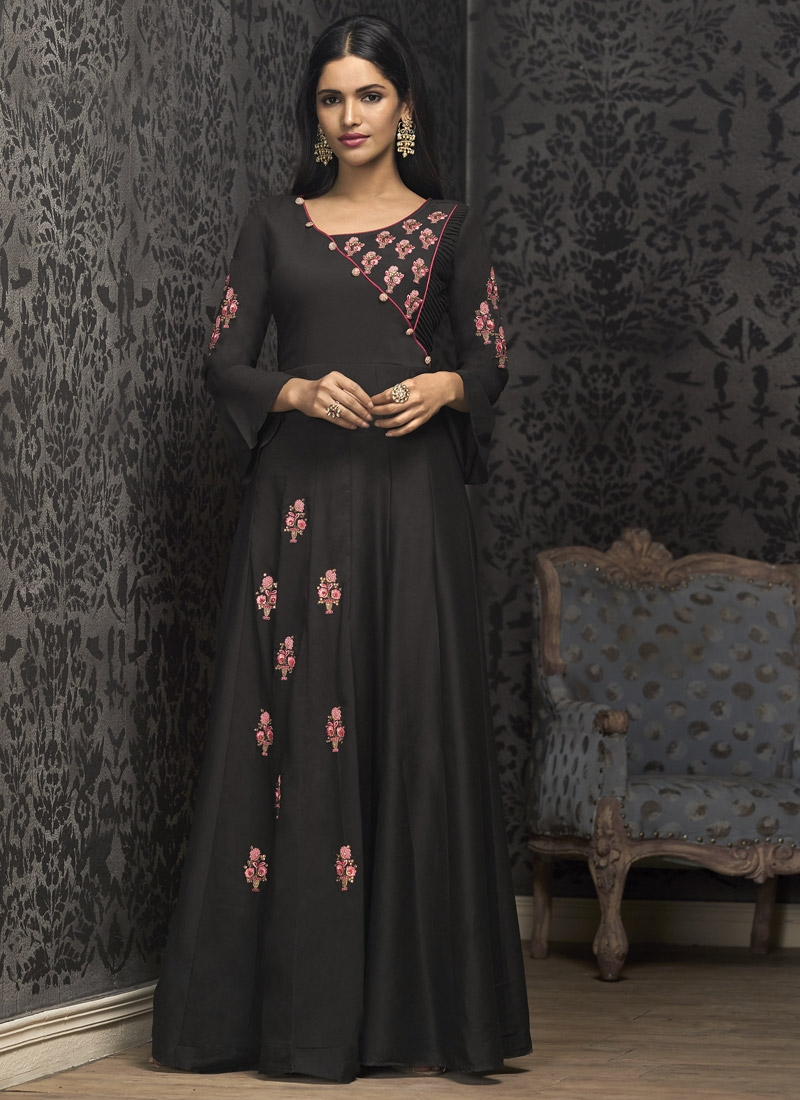 Cotton Satin Embroidered Work Readymade Designer Gown