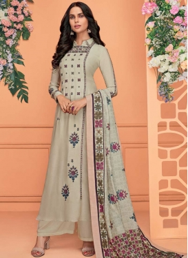 Cotton Satin Embroidered Work Readymade Long Length Suit