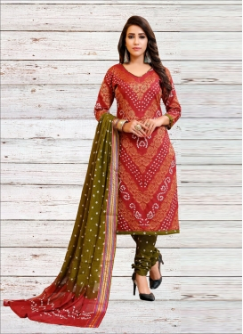 Cotton Satin Olive and Red Bandhej Print Work Trendy Churidar Suit